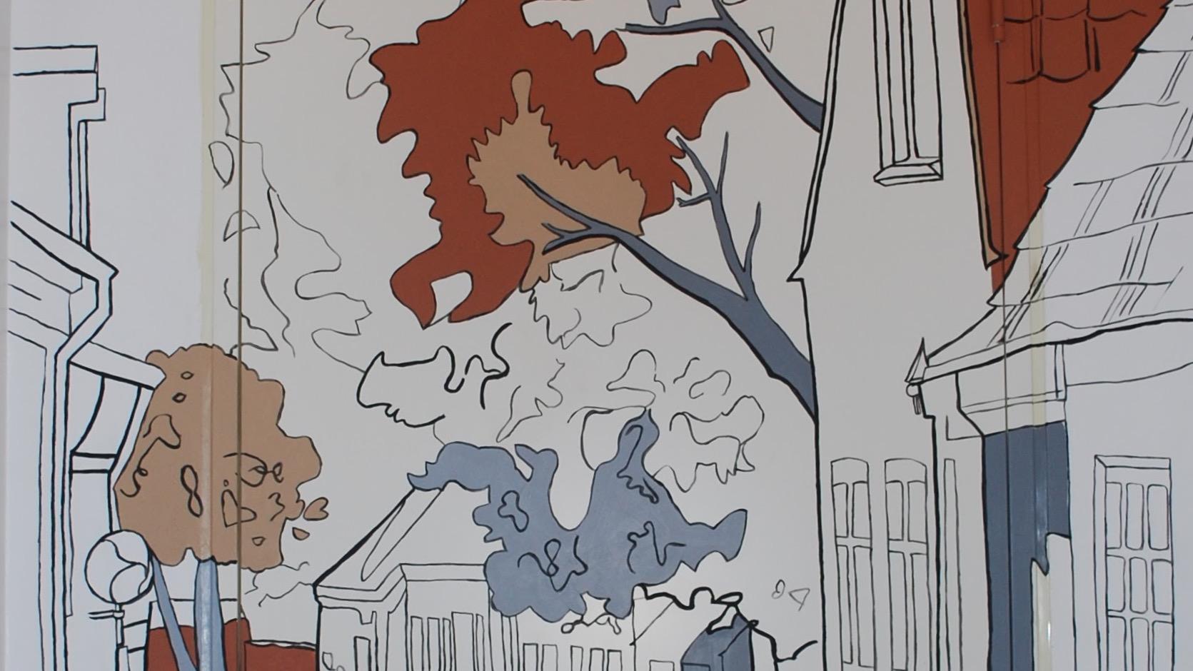 Udsnit af maleri til feriebolig i Ringkøbing