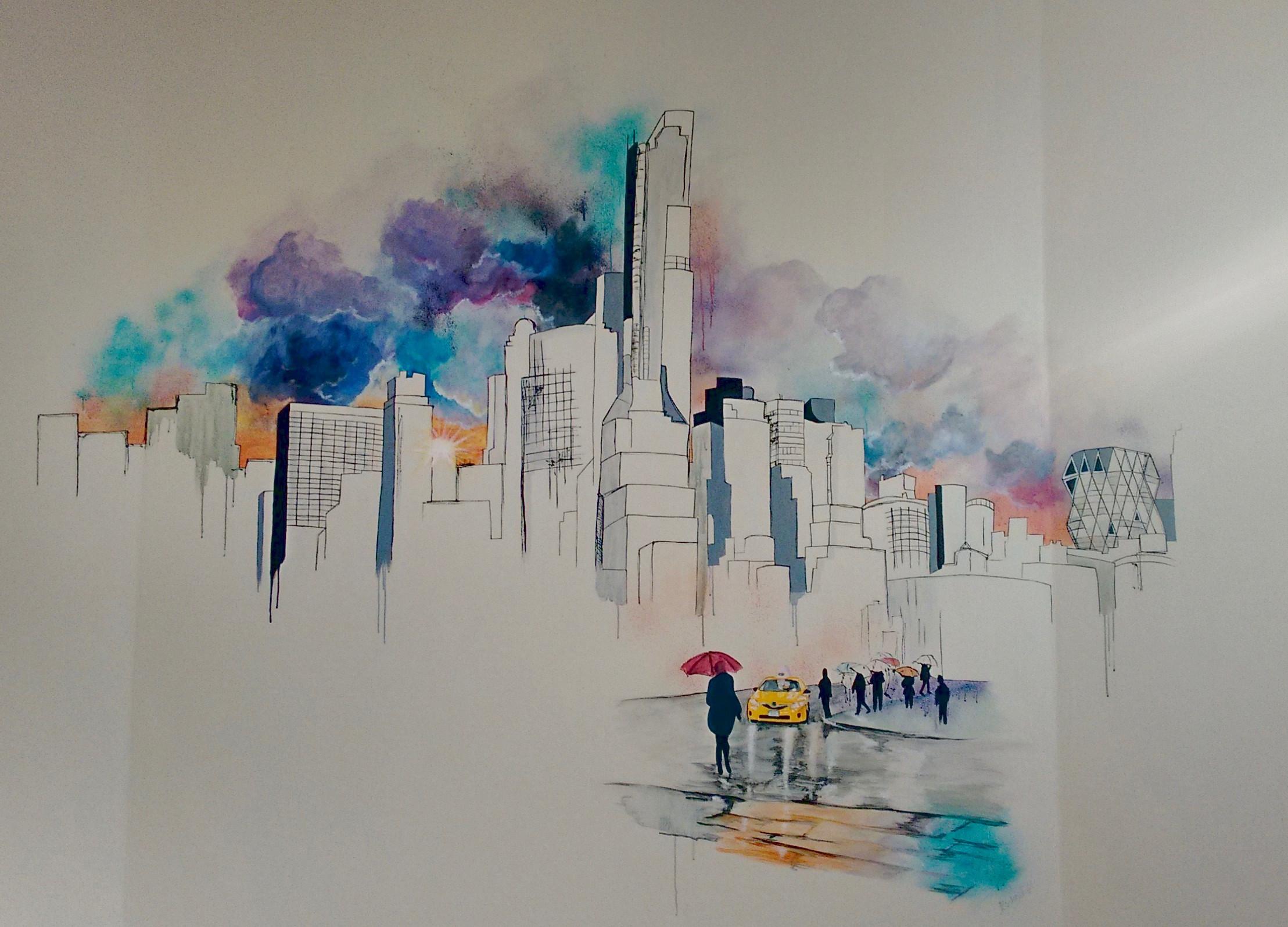 Vægmaleri af New Yorks skyline