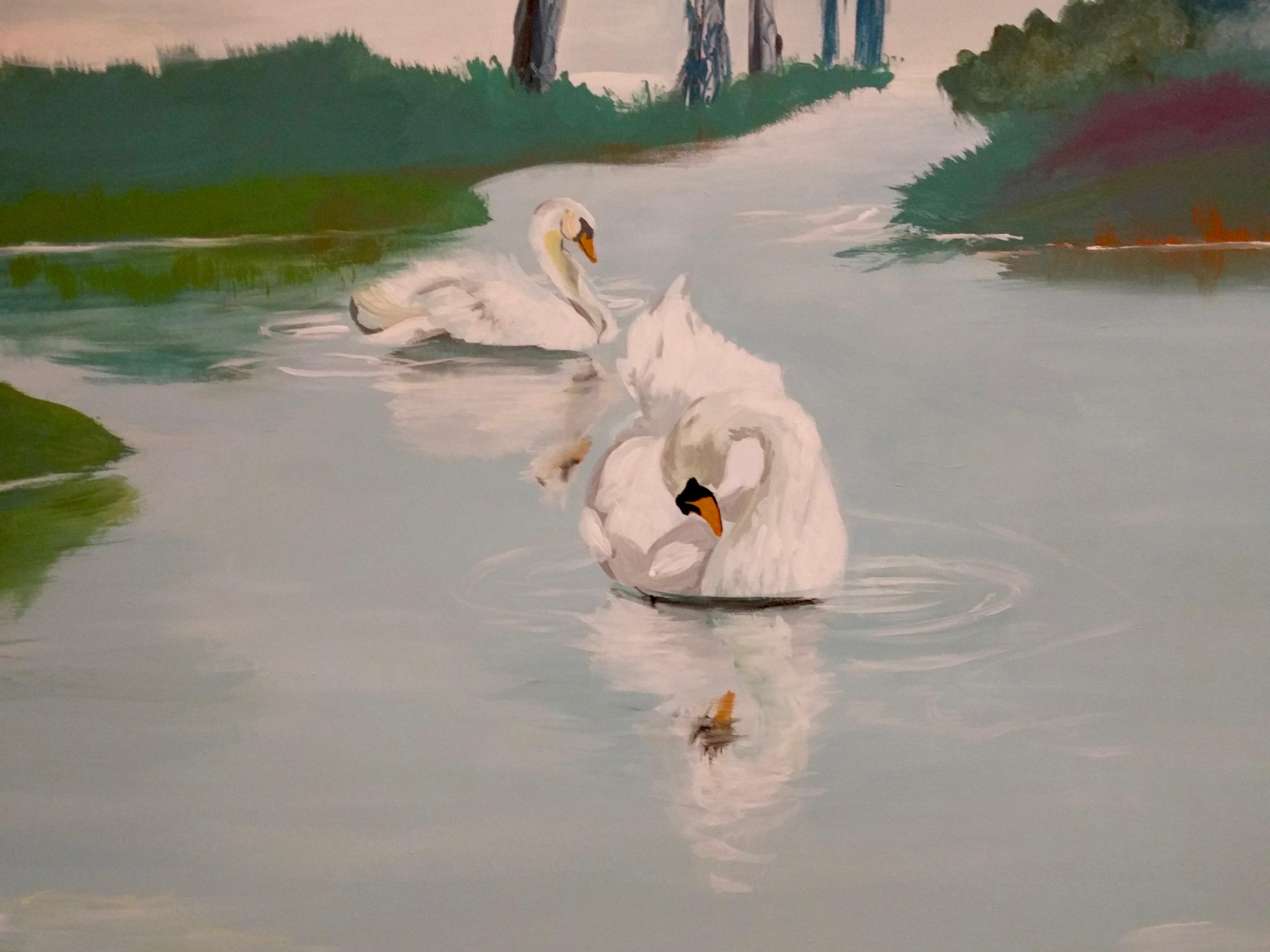 Udsnit af vægmaleri til Gudenå Hospice - svaner