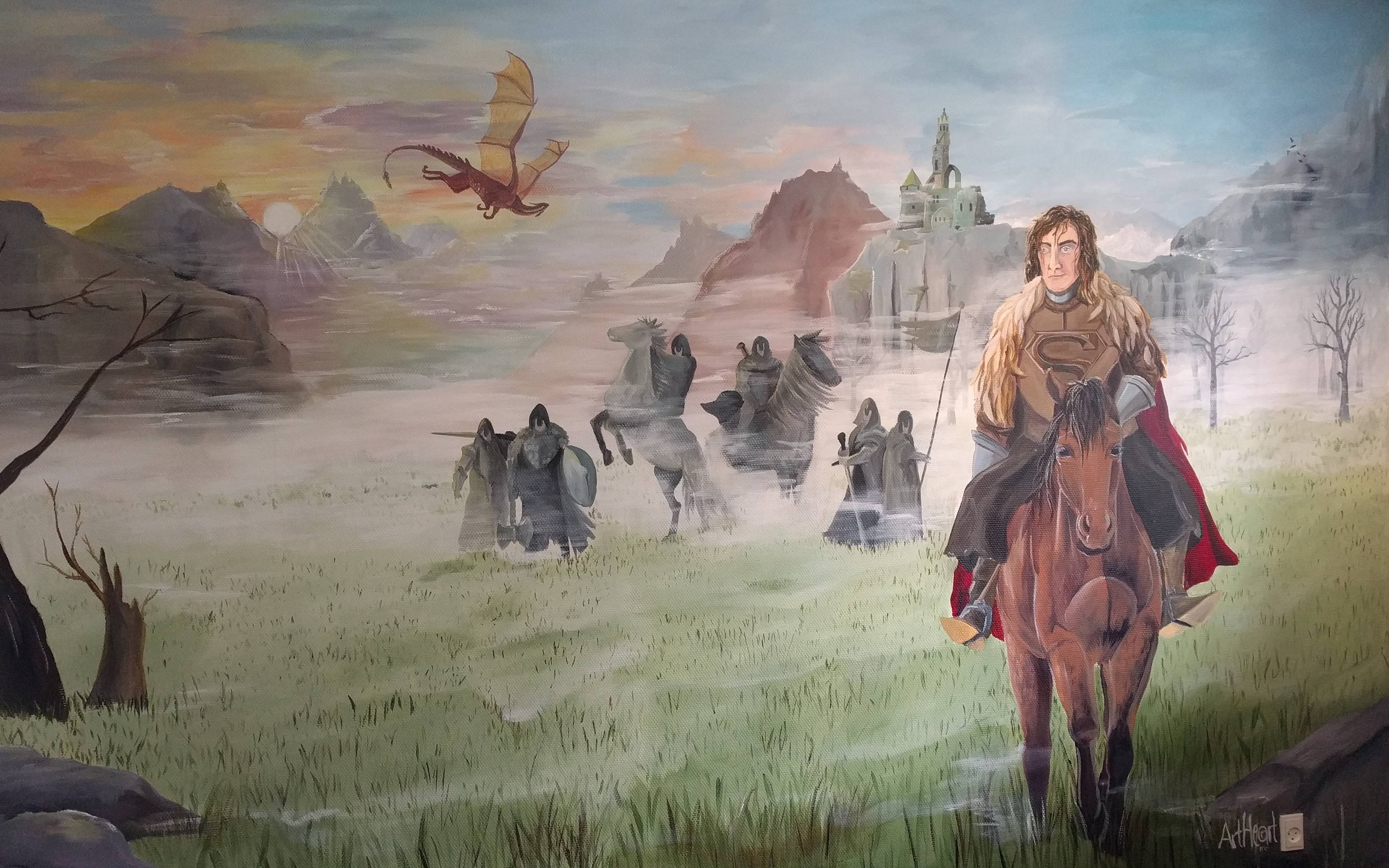 Vægmaleri af riddere og drager, malet til et børneværelse
