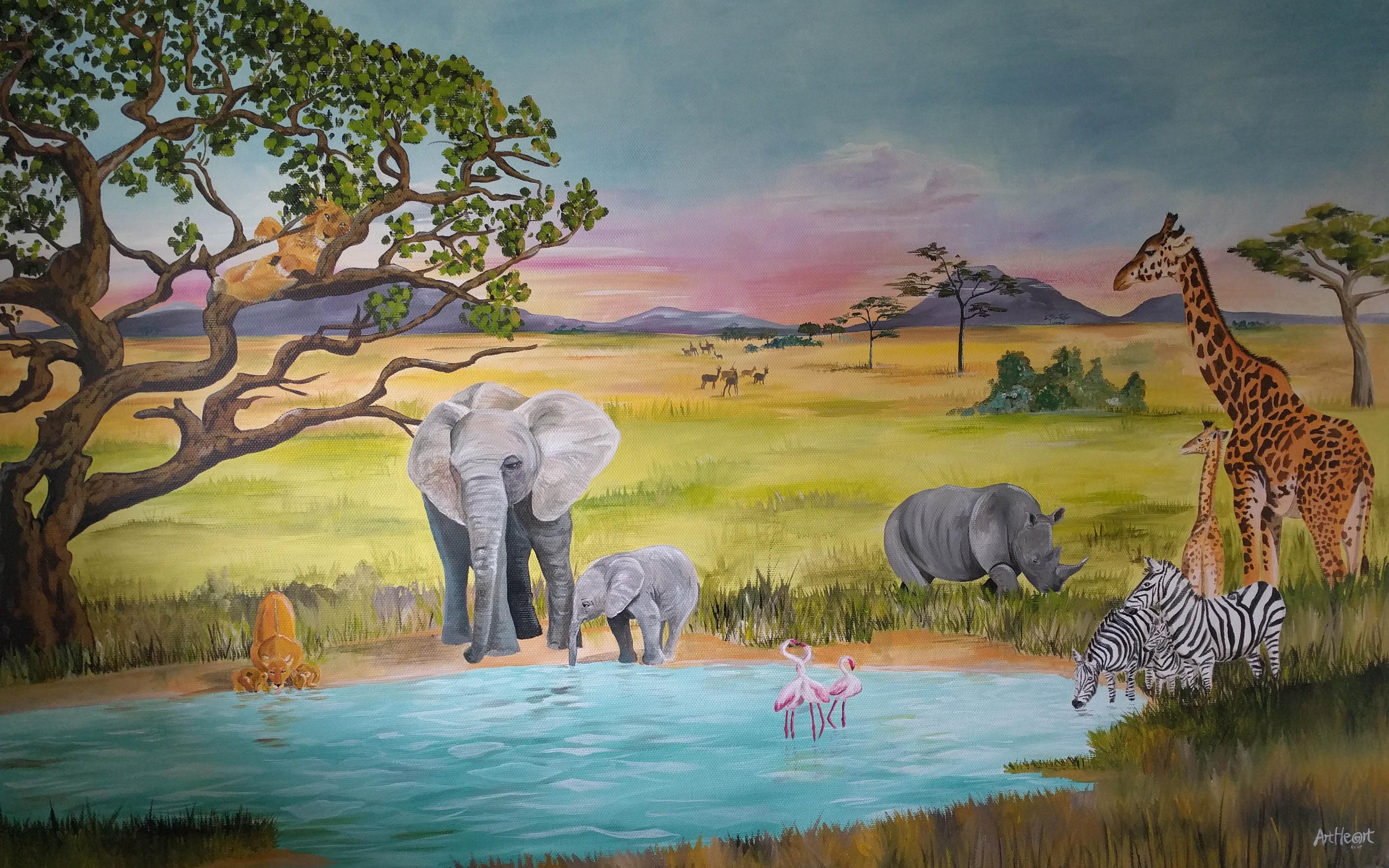 Vægmaleri af den afrikanske savanne, malet til et børneværelse