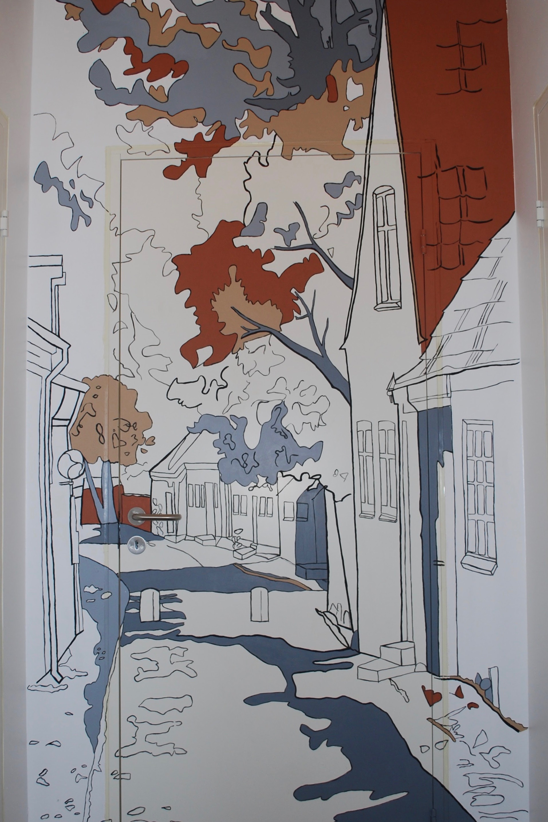Vægmaleri af gammel vej til en ferielejlighed i Ringkøbing