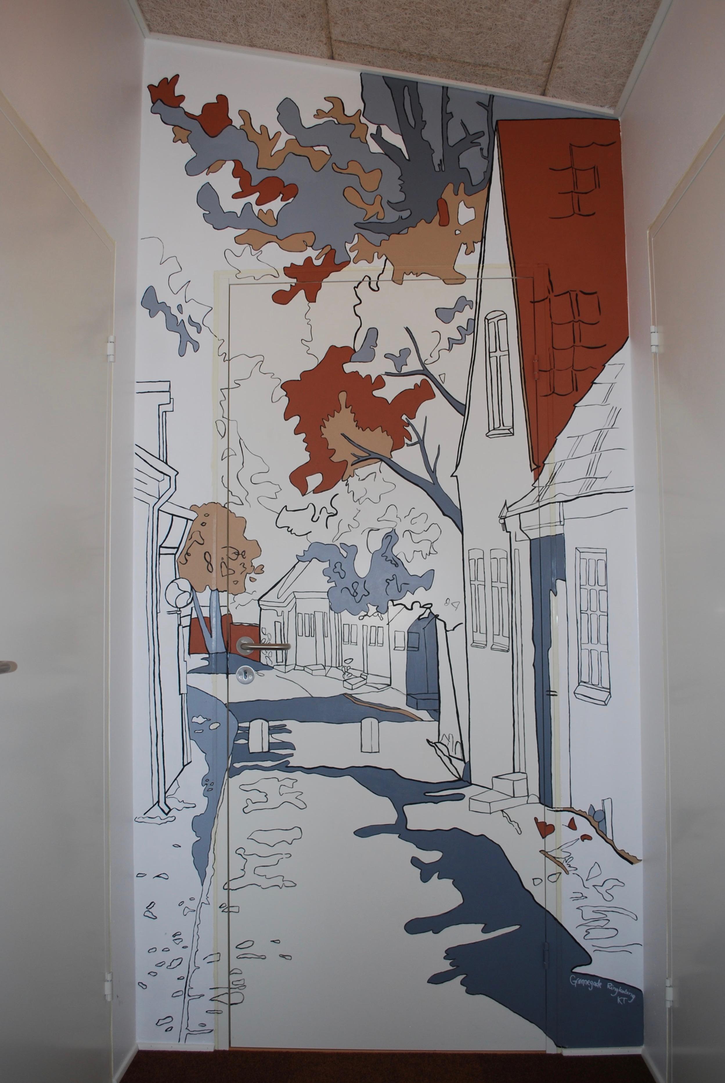 Vægmaleri af gammel gade til ferielejlighed i Ringkøbing