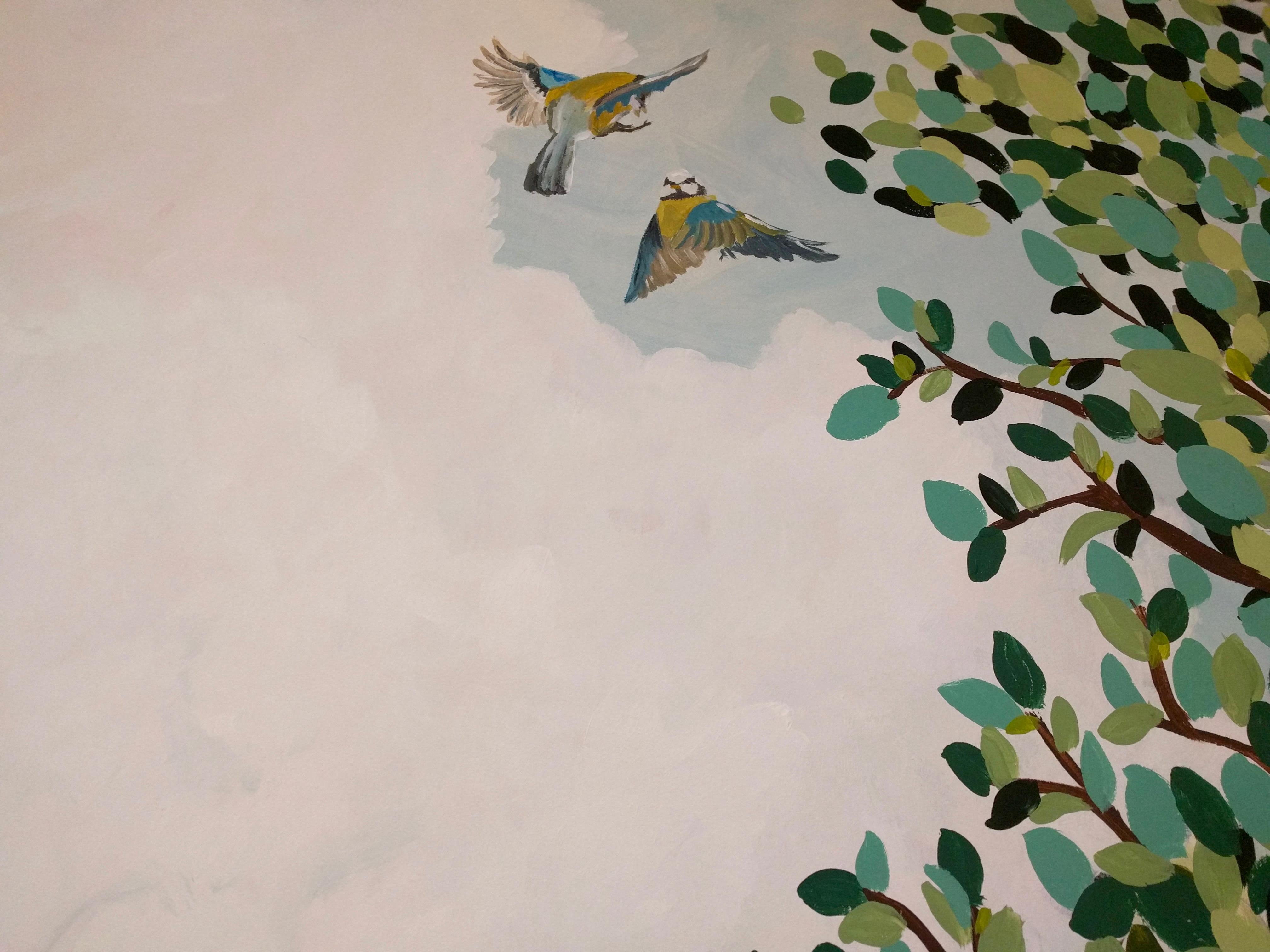 Udsnit af vægmaleri til Gudenå Hospice - fugle