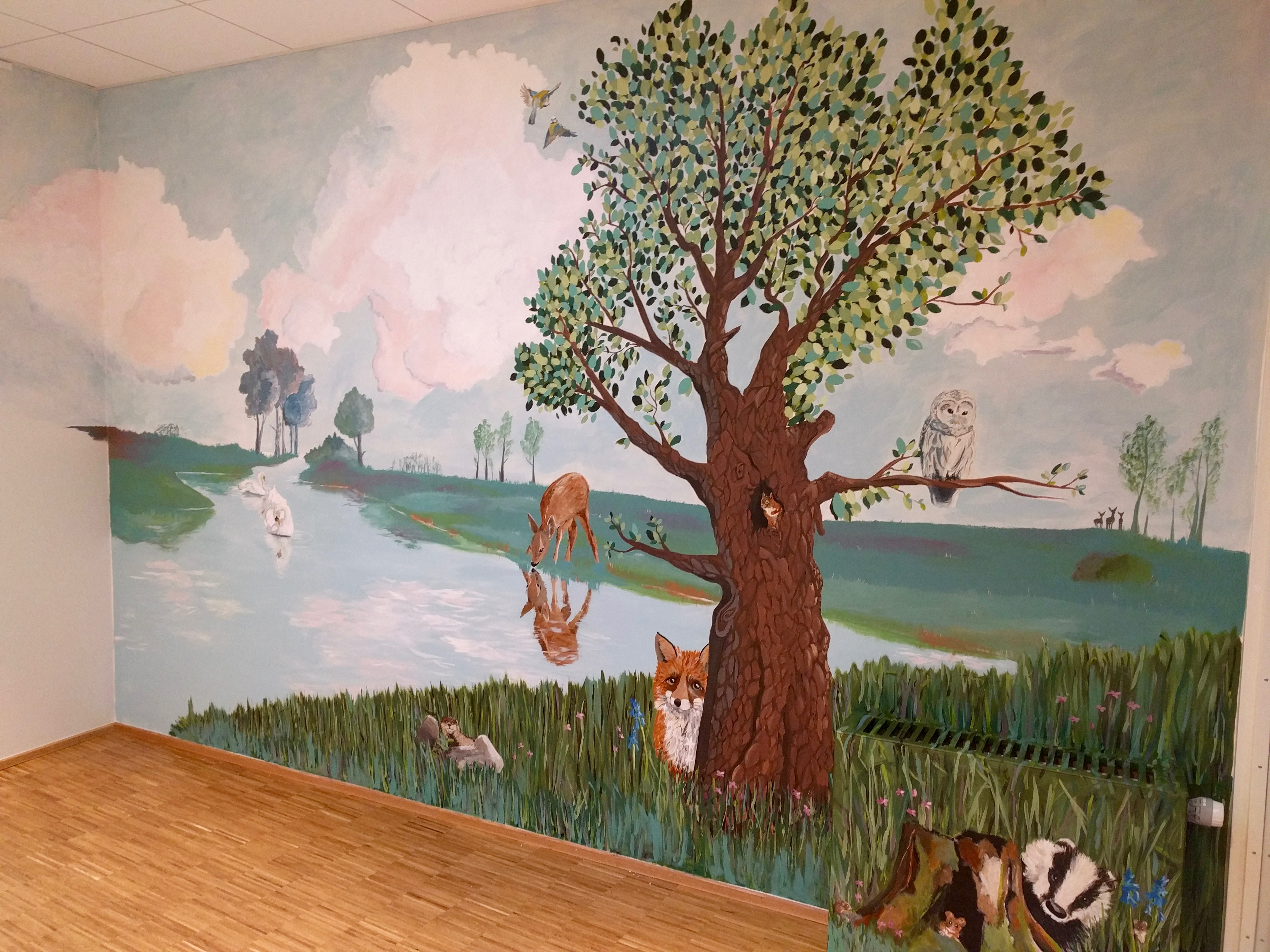 Vægmaleri til legerummet på Gudenå Hospice
