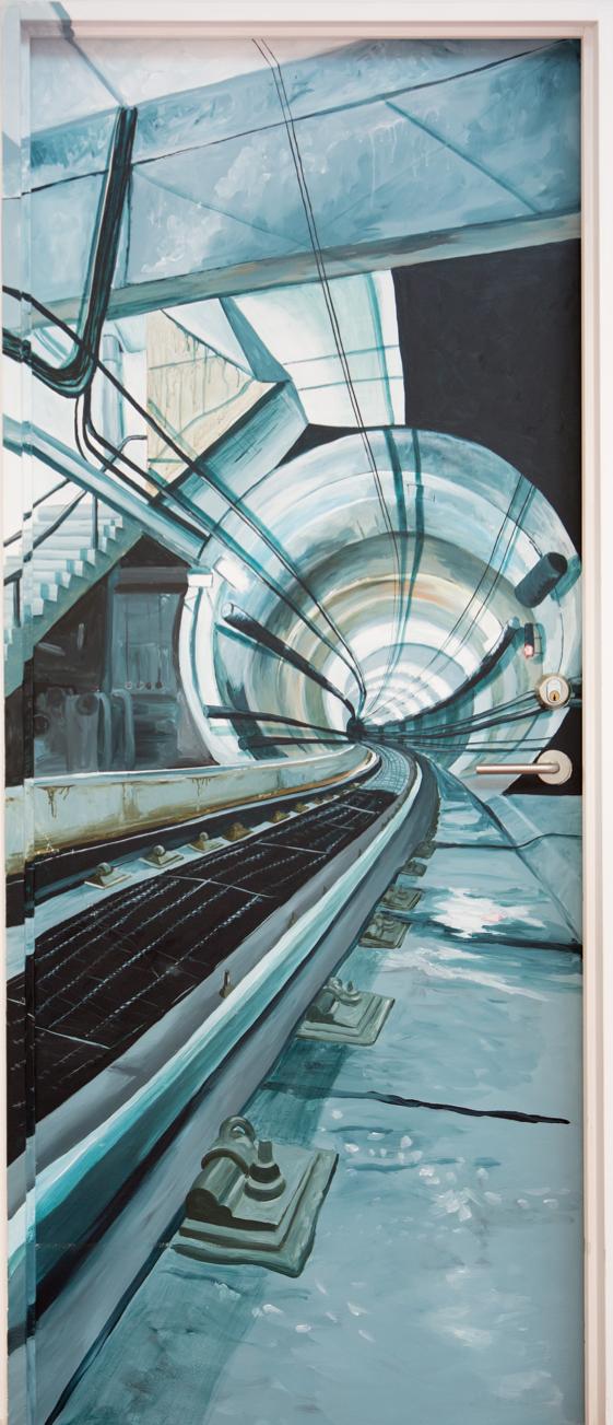 Dørmaleri, undergrundsbane på almindelig dør
