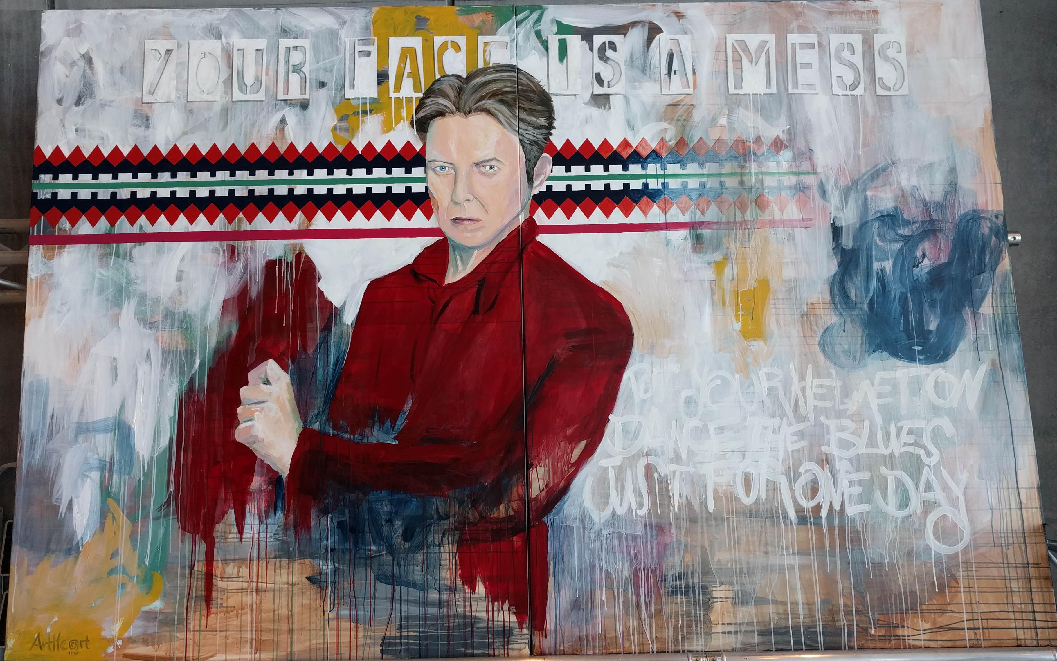 Stort David Bowie maleri på 12 kvadratmeter lavet på DOKK1 som del af Bowies Univers