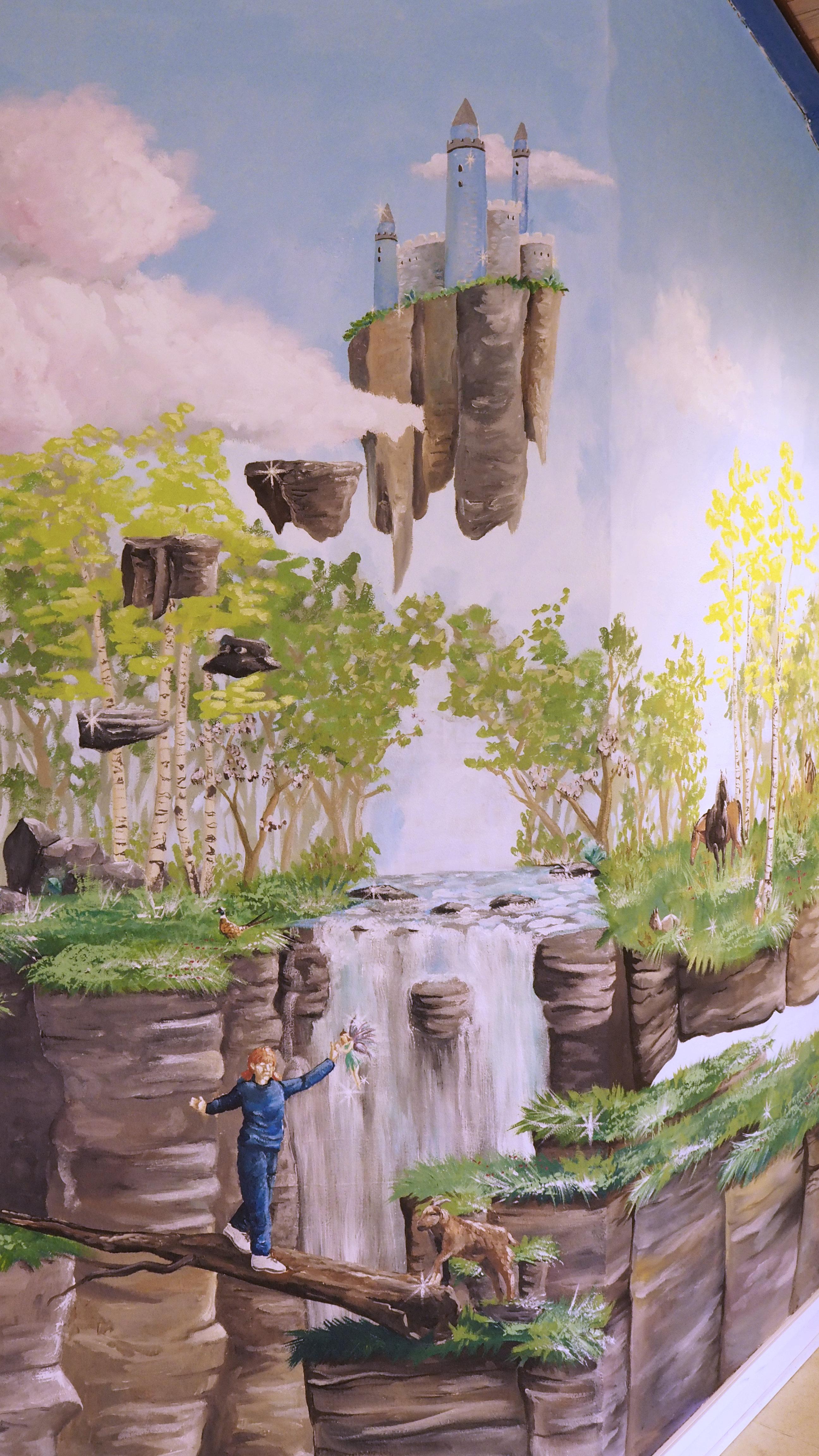Vægmaleri på Gudenå Hospice, natur med dyr